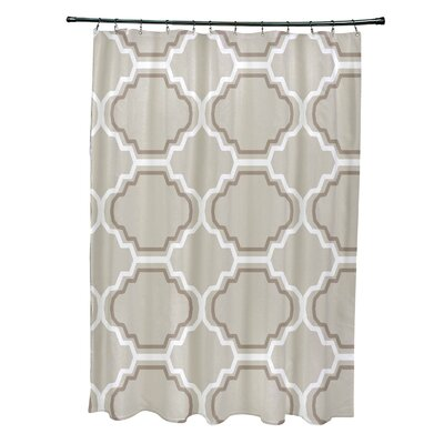 Road to Morocco Geometric Print Shower Curtain Color: Latte