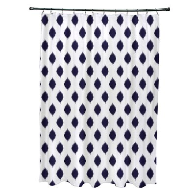 Cop-Ikat Geometric Print Shower Curtain Color: Spring Navy