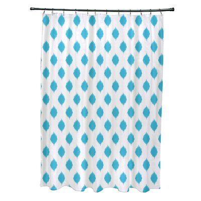 Cop-Ikat Geometric Print Shower Curtain Color: Turquoise