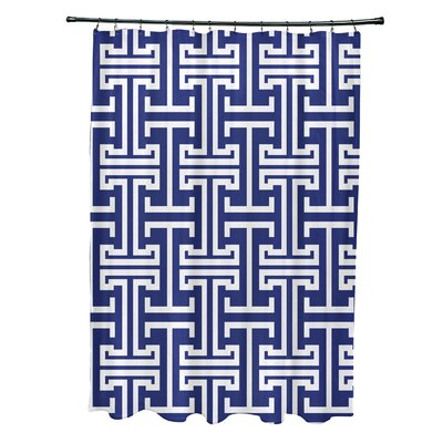 Greek Isles Geometric Print Shower Curtain Color: Blue Suede