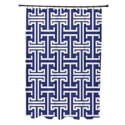 Greek Isles Geometric Print Shower Curtain Color: Blue Suede