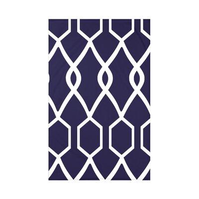 Charleston Geometric Print Polyester Fleece Throw Blanket Size: 60 L x 50 W x 0.5 D, Color: Spring Navy