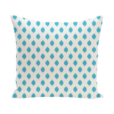Cop-Ikat Geometric Print Outdoor Throw Pillow Color: Turquoise, Size: 20 x 20
