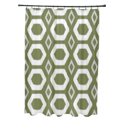 More Hugs and Kisses Geometric Print Shower Curtain Color: Olive