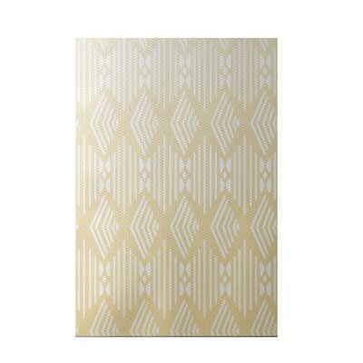 Fishbones Geometric Print Soft Lemon Indoor/Outdoor Area Rug Rug Size: 5 x 7