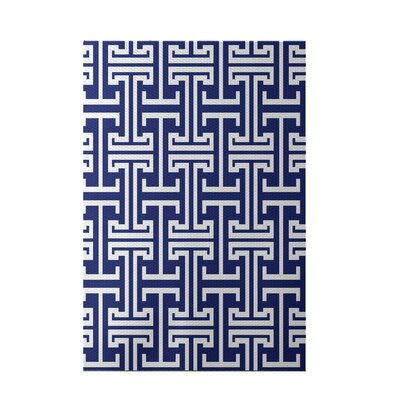 Greek Isles Geometric Print Blue Suede Indoor/Outdoor Area Rug Rug Size: 5 x 7
