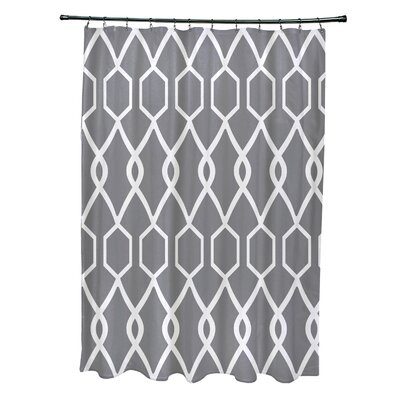 Charleston Geometric Print Shower Curtain Color: Grape