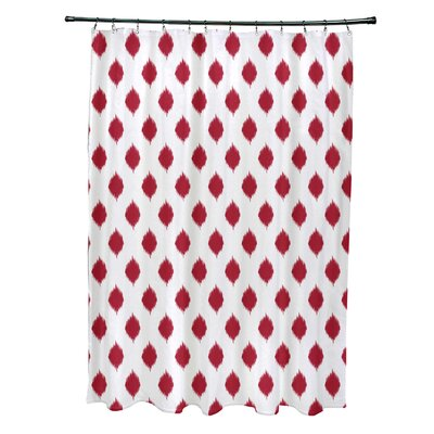Cop-Ikat Geometric Print Shower Curtain Color: Formula One