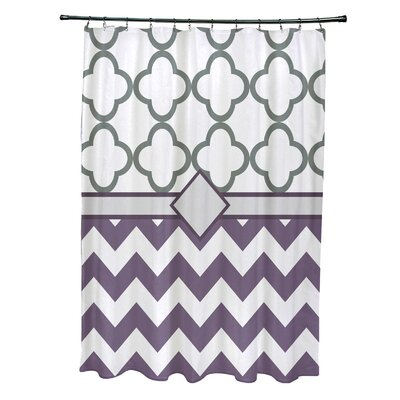 Express Line Geometric Print Shower Curtain Color: Larkspur