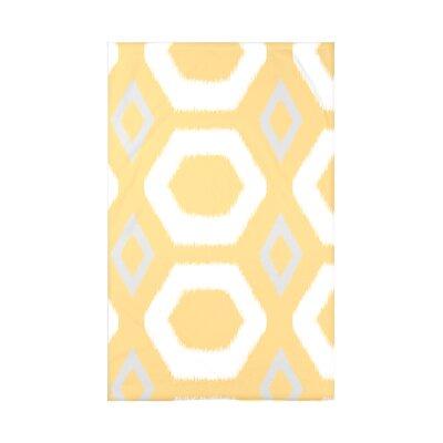 Geometric Print Fleece Throw Blanket Size: 60 L x 50 W x 0.5 D, Color: Lemon