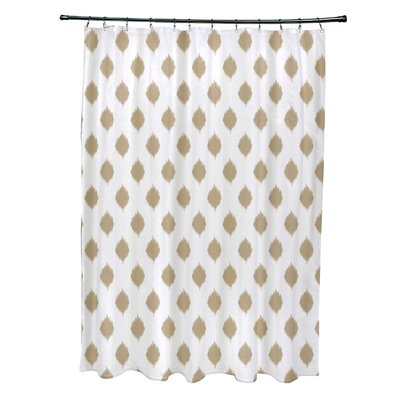 Cop-Ikat Geometric Print Shower Curtain Color: Khaki