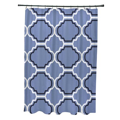 Road to Morocco Geometric Print Shower Curtain Color: Cornflower
