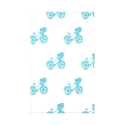 Bicycles! Geometric Print Polyester Fleece Throw Blanket Size: 60 L x 50 W x 0.5 D, Color: Turquoise