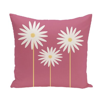 Daisy May Floral Print Outdoor Throw Pillow Size: 18 H x 18 W x 1 D, Color: Pink Cheeks