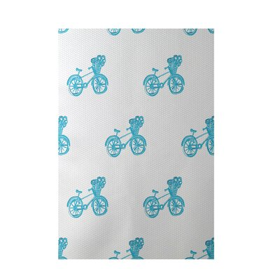 Bicycles! Geometric Print Turquoise Indoor/Outdoor Area Rug Rug Size: 2 x 3