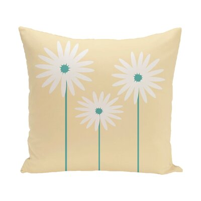 Daisy May Floral Print Outdoor Throw Pillow Color: Soft Yellow, Size: 16 H x 16 W x 1 D