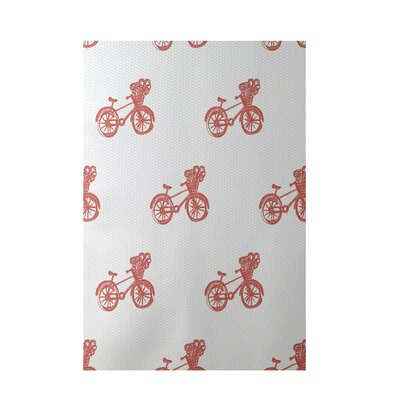 Bicycles! Geometric Print Red Indoor/Outdoor Area Rug Rug Size: 2' x 3'