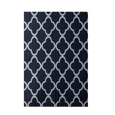 Marrakech Express Geometric Print Navy Indoor/Outdoor Area Rug Rug Size: 2' x 3'