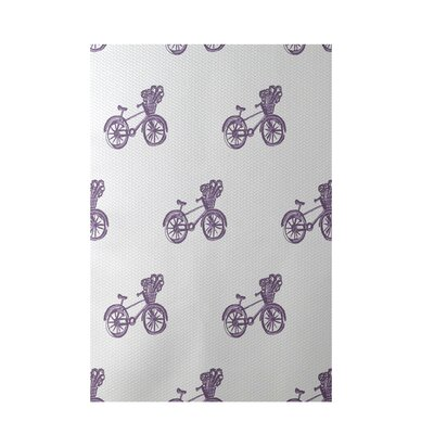 Bicycles! Geometric Print Violet Indoor/Outdoor Area Rug Rug Size: 5 x 7