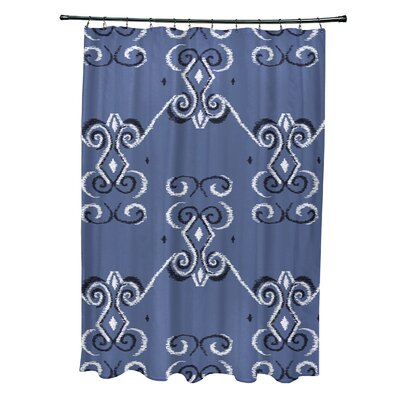 On the Line Geometric Print Shower Curtain Color: Cadet