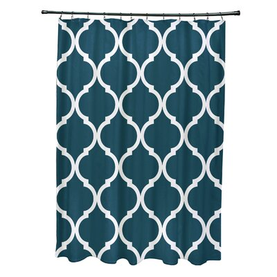 French Quarter Geometric Print Shower Curtain Color: Deep Sea