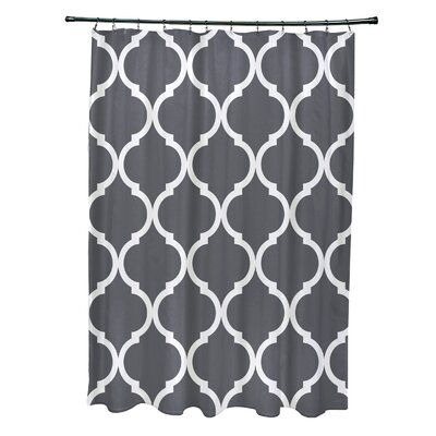 French Quarter Geometric Print Shower Curtain Color: Steel