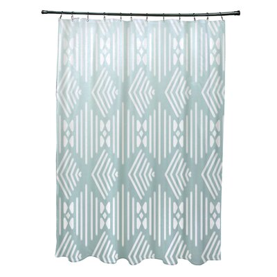 Fishbones Geometric Print Shower Curtain Color: Seaside