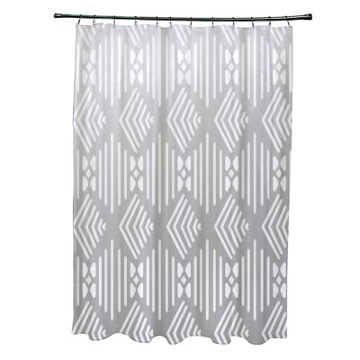 Fishbones Geometric Print Shower Curtain Color: Rain Cloud