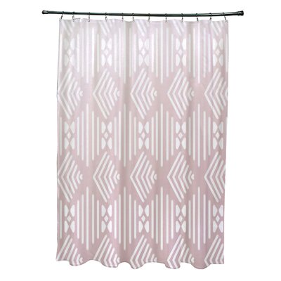 Fishbones Geometric Print Shower Curtain Color: Blush