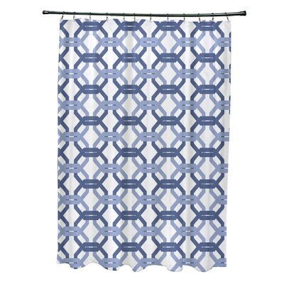 Were All Connected Geometric Print Shower Curtain Color: Cadet