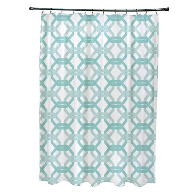 Were All Connected Geometric Print Shower Curtain Color: Ocean