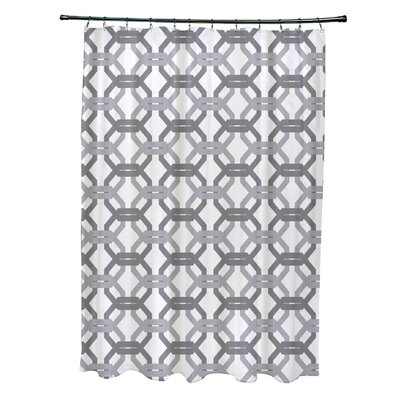 Were All Connected Geometric Print Shower Curtain Color: Classic Gray
