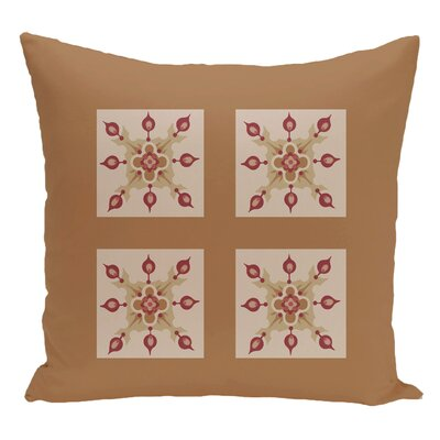 Geometric Decorative Floor Pillow Color: Brown