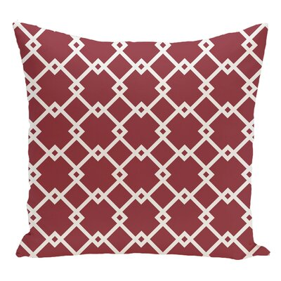 Geometric Decorative Floor Pillow Color: Red