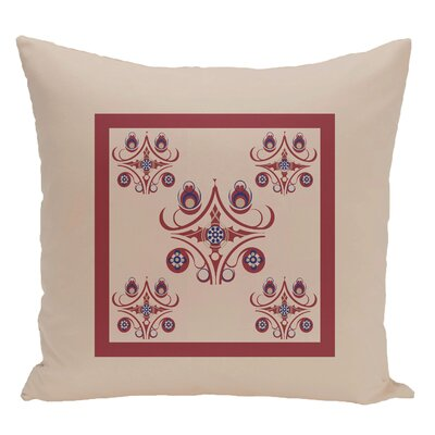Geometric Decorative Floor Pillow Color: Brown/Red