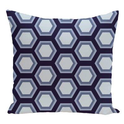 Geometric Decorative Floor Pillow Color: Navy Blue/Light Blue