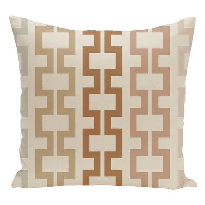 Geometric Decorative Floor Pillow Color: White/Brown