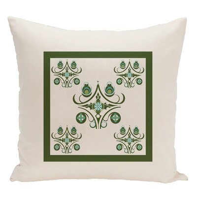 Geometric Decorative Floor Pillow Color: White/Green