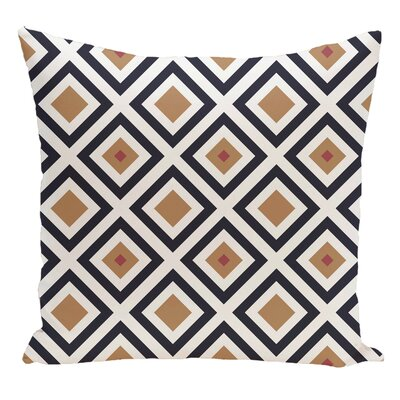 Geometric Decorative Floor Pillow Color: Navy Blue/Brown