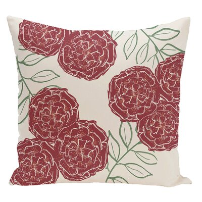 Floral Decorative Floor Pillow Color: White/Red