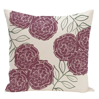 Floral Decorative Floor Pillow Color: Ivory/Purple