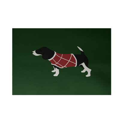 Argyle Decorative Holiday Print Green Indoor/Outdoor Area Rug Rug Size: 2' x 3'