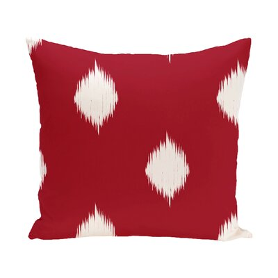 Leporis Decorative Holiday Ikat Print Throw Pillow Size: 16 H x 16 W, Color: Red