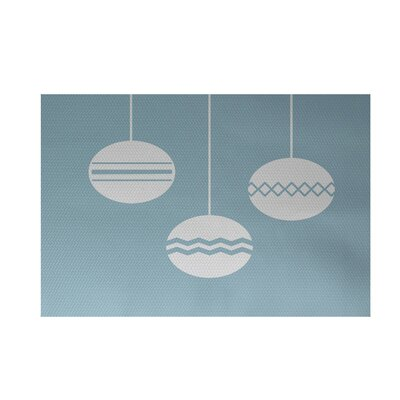 Geo-Bulbs Decorative Holiday Print Light Blue Indoor/Outdoor Area Rug Rug Size: 3 x 5