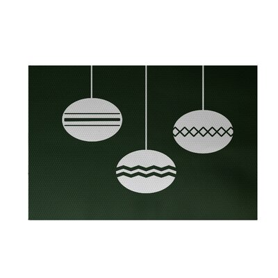 Geo-Bulbs Decorative Holiday Print Dark Green Indoor/Outdoor Area Rug Rug Size: Rectangle 2' x 3'