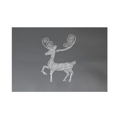 Deer Crossing Decorative Holiday Print Gray Indoor/Outdoor Area Rug Rug Size: 2 x 3