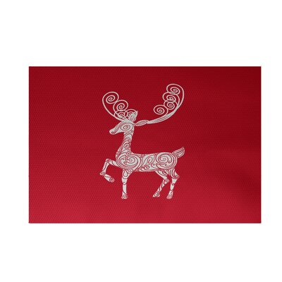 Deer Crossing Deer Crossing Decorative Holiday Print Red Indoor/Outdoor Area RugHoliday Animal Print Red Indoor/Outdoor Area Rug Rug Size: 3 x 5