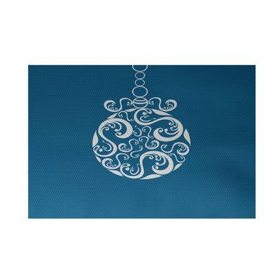 Decorative Holiday Print Turquoise Indoor/Outdoor Area Rug Rug Size: 4 x 6