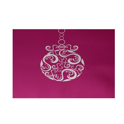 Decorative Holiday Print Pink Indoor/Outdoor Area Rug Rug Size: 2 x 3
