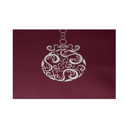 Decorative Holiday Print Cranberry Burgundy Indoor/Outdoor Area Rug Rug Size: 2 x 3